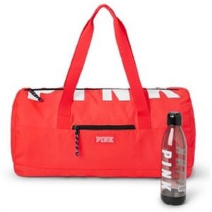 VS Pink Red Logo Duffle Bag and Water Bottle
